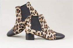 Parlanti Mid heel trimmed leopard print calf hair ankle boots