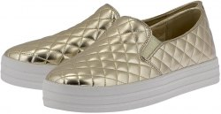Skechers Quilted Twin Gore Flatform Sne 824GLD