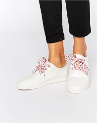 TOMS Paseo White Linen Lace Up Trainers White linen