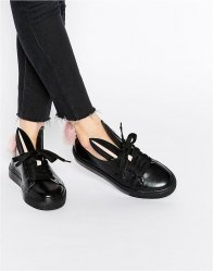 Minna Parikka Leather Bunny Ears Faux Fur Tail Trainers