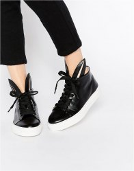 Minna Parikka Leather Bunny Ears High Top Trainers