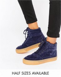 ASOS DUKE Lace Up High Top Trainers Navy