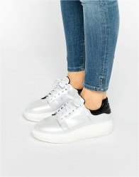Daisy Street White Irridescent Platform Trainers White irredescent pe
