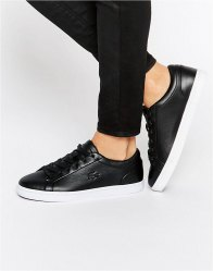 Lacoste Premium Leather Straightset Court Trainers