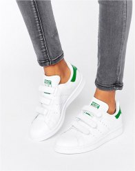 Adidas Originals και Green Velcro Stan Smith Trainers