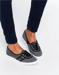 Fred Perry Aubrey Space Dyed Charcoal Plimsoll Trainers