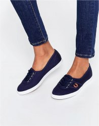Fred Perry Aubrey Twill Carbon Blue Plimsoll Trainers