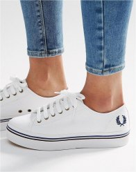 Fred Perry Phoenix White Canvas Flatform Plimsoll Trainers