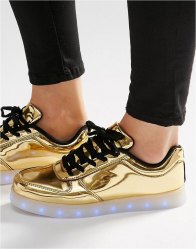 Wize Ope Pop Gold Light Up Sole Trainers Laminated gold