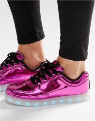 Wize Ope Pop Pink Light Up Sole Trainers Laminated pink