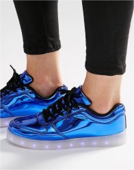 Wize Ope Pop Blue Light Up Sole Trainers Laminated blue