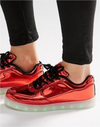 Wize Ope Red Light Up Sole Trainers Laminated red