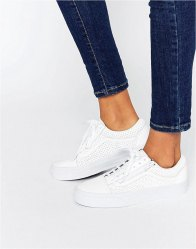 Vans Old Skool Zip Perforated Leather Trainer