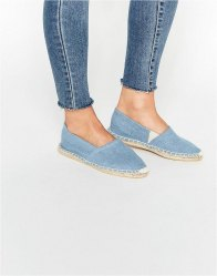 Pieces Haisha Chambray Denim Blue Espadrille Flat Shoes Chambray denim