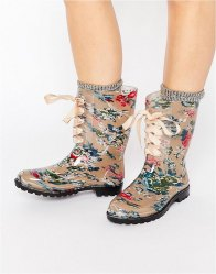 Glamorous Print Lace Up Wellington print