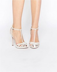 ASOS PEACE Bridal Caged High Heels Ivory snake