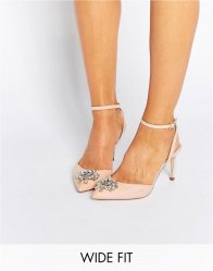 ASOS SOCIETY Wide Fit Embellished Heels Apricot