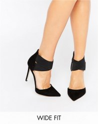 ASOS PEACHES Wide Fit Elastic Detail Pointed Heels