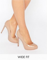 Faith Wide Fit Cadles Nude Platform Court Shoes Nude patent
