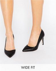 Faith Wide Fit Cliff Black Cut Out Court Shoes Black pu