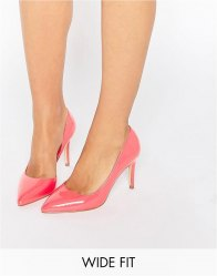 Faith Wide Fit Cliff Pink Cut Out Court Shoes Hot pink patent