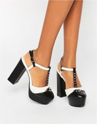 Daisy Street T Bar Studded Mega Platform Shoes