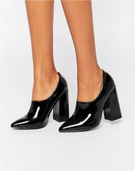 Daisy Street Patent High Vamp Point Heeled Shoes patent