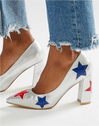 Daisy Street Star Heeled Shoes Silver με red and