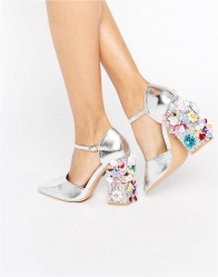 Daisy Street Flower Detail Point Heeled Shoes Silver mirror