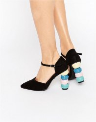 Daisy Street Macaroon Point Heeled Shoes Black microfibre