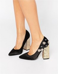 Daisy Street Flower Glitter Point Heeled Shoes Black microfibre