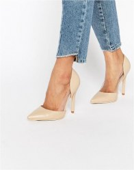 Public Desire Keely Clear Detail Court Shoes Nude pu