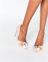 Miss KG Caela Floral Embellished Heeled Court Shoes Nude pink