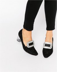 Jeffrey Campbell Embroidered Clear Heeled Shoes Black embroidery fab
