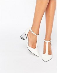 Lost Ink Dame Silver Mid Heeled Shoes