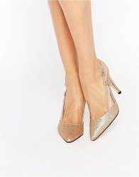 True Decadence Cut Out Sling Heeled Shoes Gold glitter