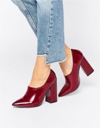 Daisy Street Burgundy Patent High Vamp Point Heeled Shoes High shine burgundy
