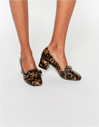 ASOS ON TIME Square Toe Loafers Tortoise shell