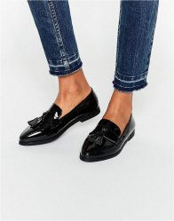 Daisy Street Patent Tassel Flat Loafer Shoes patent