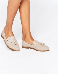 Daisy Street Nude Patent Tassel Flat Loafer Shoes Nude patent