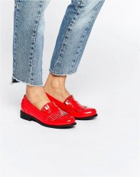 Glamorous Tassel Fringed Loafer Flat Shoes Bright red