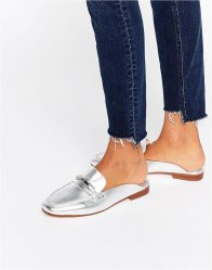 Faith Backless Silver Leather Loafers Silver leather
