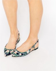 ASOS LAST LAUGH Pointed Sling Back Ballet Flats Multi