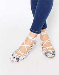 ASOS LAKE Lace Up Ballet Flats Grey