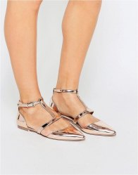 ASOS LETTY Pointed Ballet Flats Nude metallic