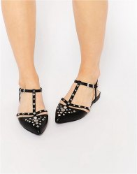 ASOS LOTUS Studded Pointed Ballet Flats
