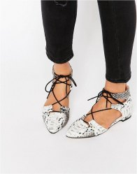 ASOS LET'S PLAY Pointed Lace up Ballet Flats Snake