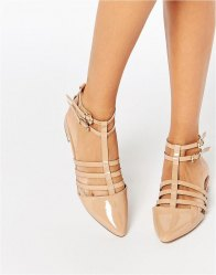 ASOS LOS ANGELES Pointed Caged Ballet Flats