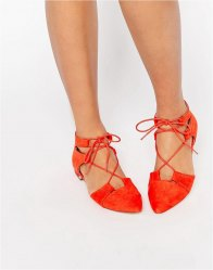 ASOS LET'S PLAY Pointed Lace up Ballet Flats
