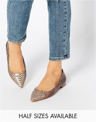 ASOS LOST Pointed Ballet Flats Snake